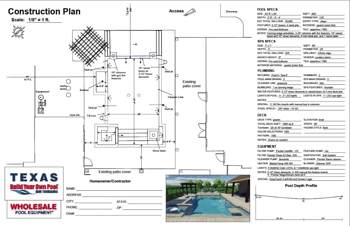 Pool Studio Dfw Construction Plans Build Your Own Pool