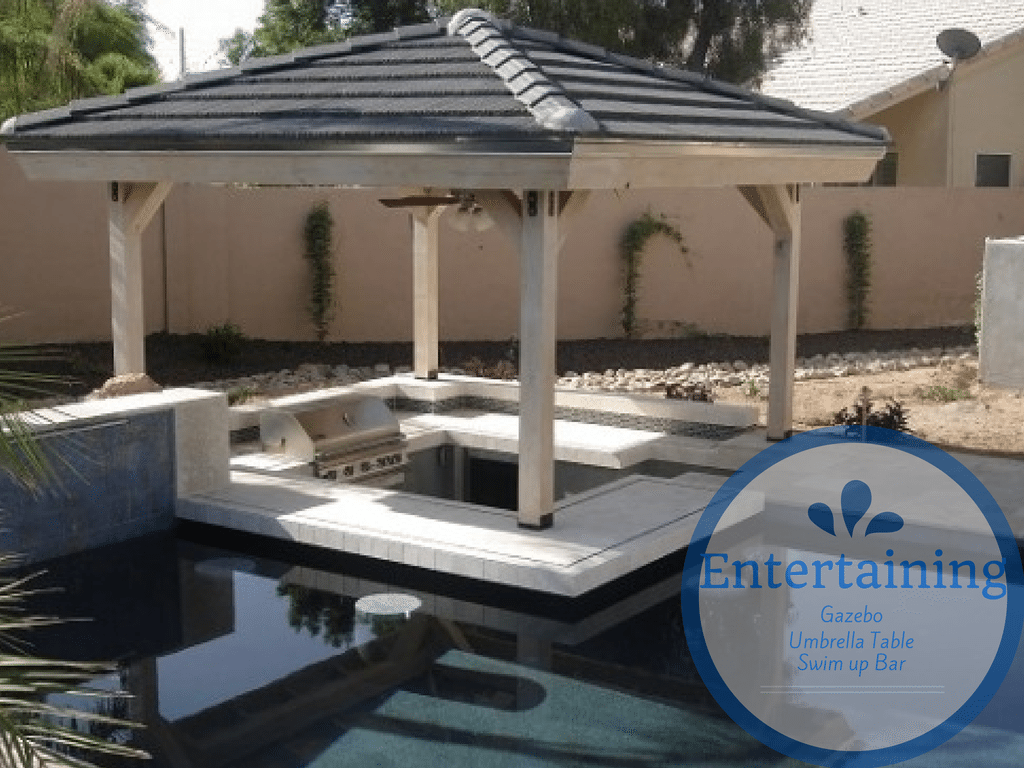 Gazebo, umbrella table, swim up bar