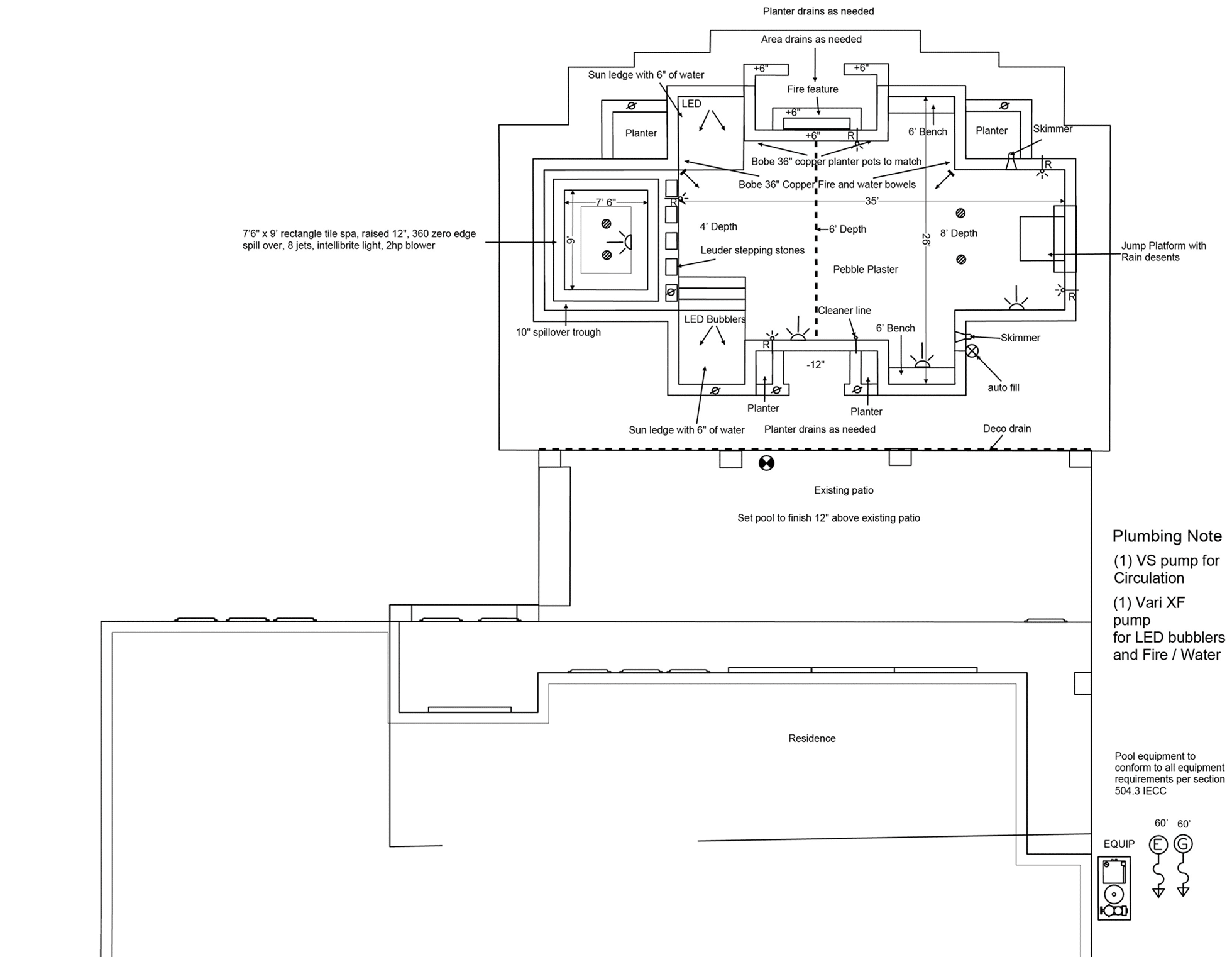 Overhead view of a swimming pool plan drawing.