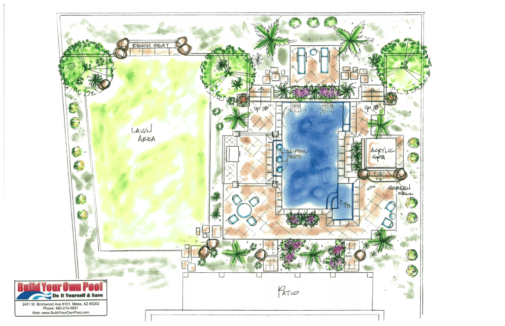 BYOP located in Mesa, Arizona. Geo-Metric swimming pool drawing.