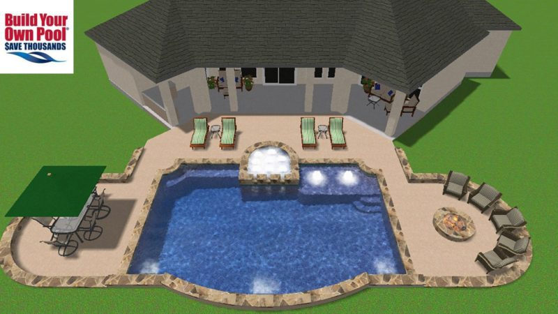 Overhead view of a 3-D design showing a swimming pool, hot tub, sitting area, fire pit, and covered eating area.