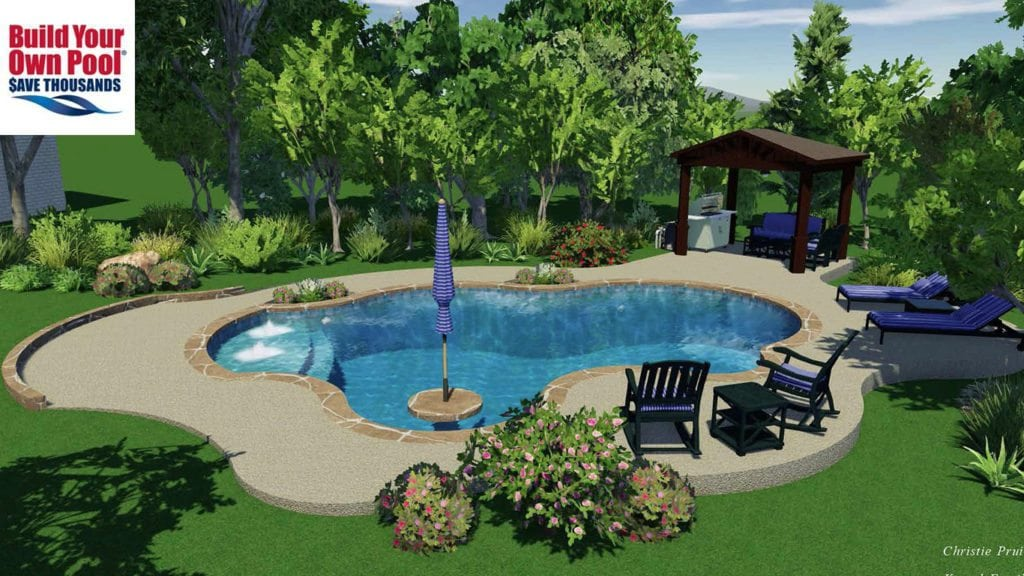 Kessel family swimming pool design for their home in San Antonio, Texas. Swimming pool design shows water features in the swimming pool and an umbrella stand in the pool for shade from the sun while swimming. You can also see the lounge area and the outdoor grilling area.