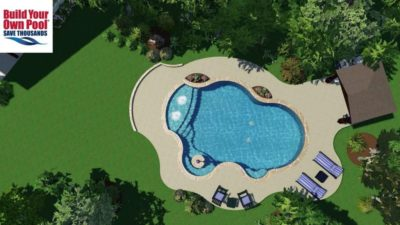 Overhead view of the Kessel family swimming pool in San Antonio, Texas. The swimming pool design includes water features in the swimming pool and an umbrella stand for shade while in the pool.