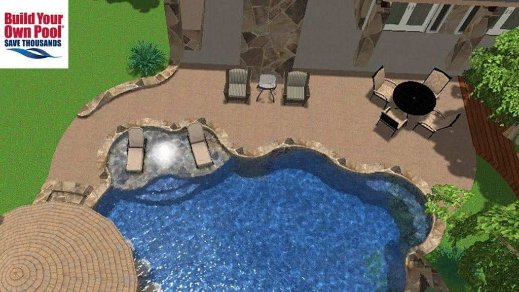 3D Swimming pool design for the Askew family in Austin, Texas. Pool design shows two lounge chairs submerged in the water.