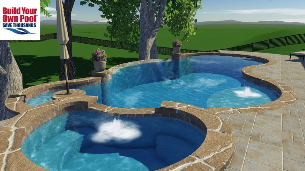 Close up view of a 3D swimming pool plan for the Bently household, located in Austin, Texas. Pool plan shows a close up of the hot tub and the swimming pool design.